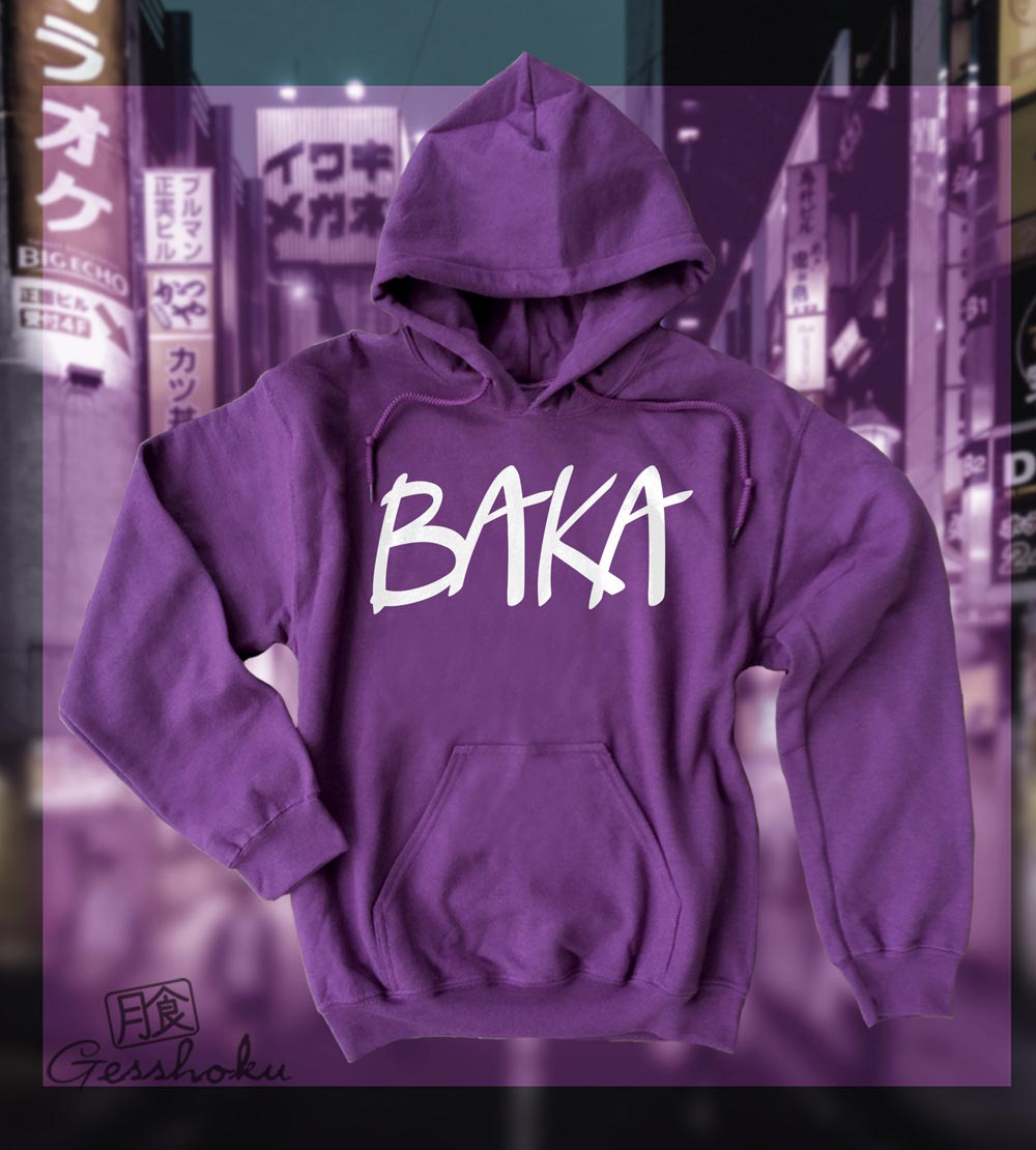 Baka (text) Pullover Hoodie - Purple
