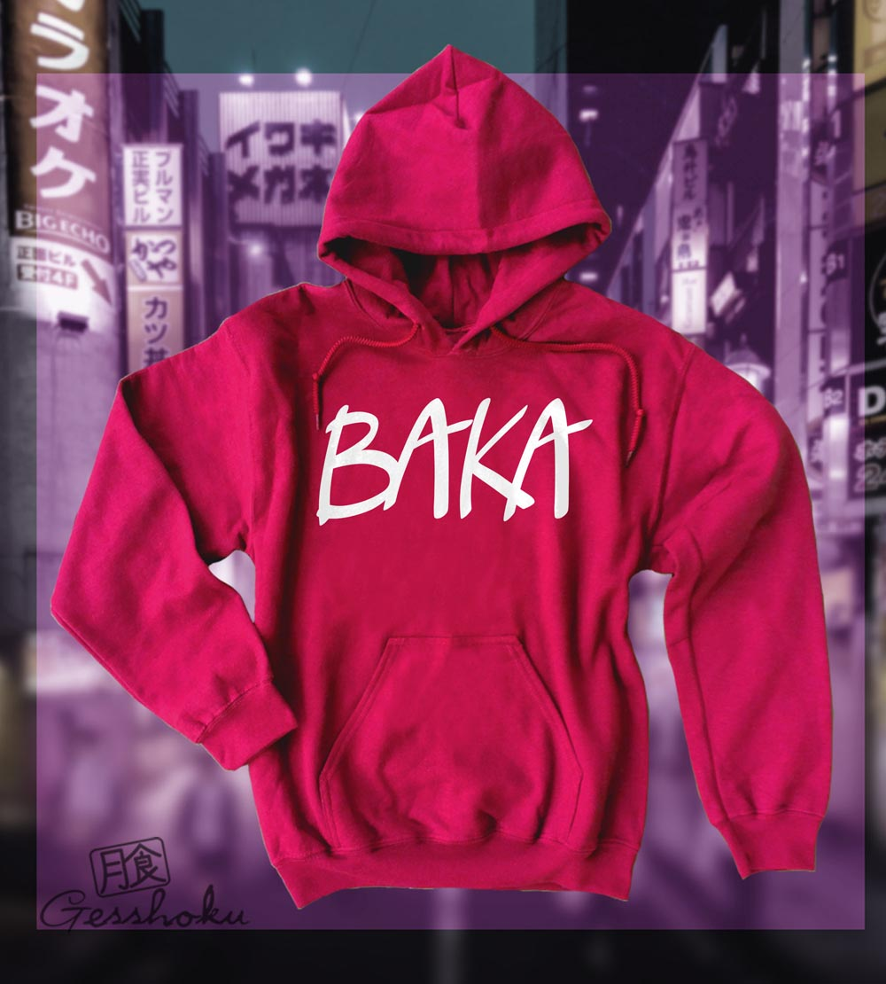 Baka (text) Pullover Hoodie - Red