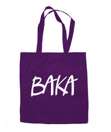 BAKA (text) Tote Bag - Purple
