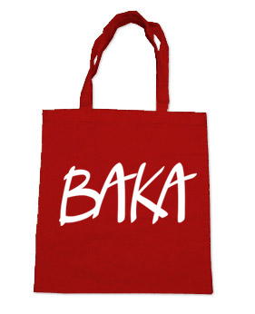 BAKA (text) Tote Bag - Red