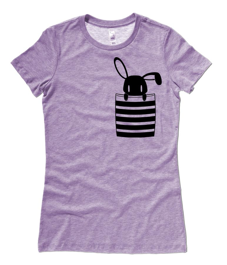 Bunny in My Pocket Ladies T-shirt - Heather Purple
