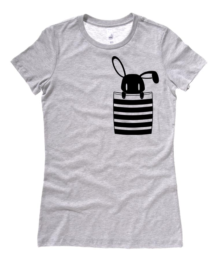Bunny in My Pocket Ladies T-shirt - Light Grey