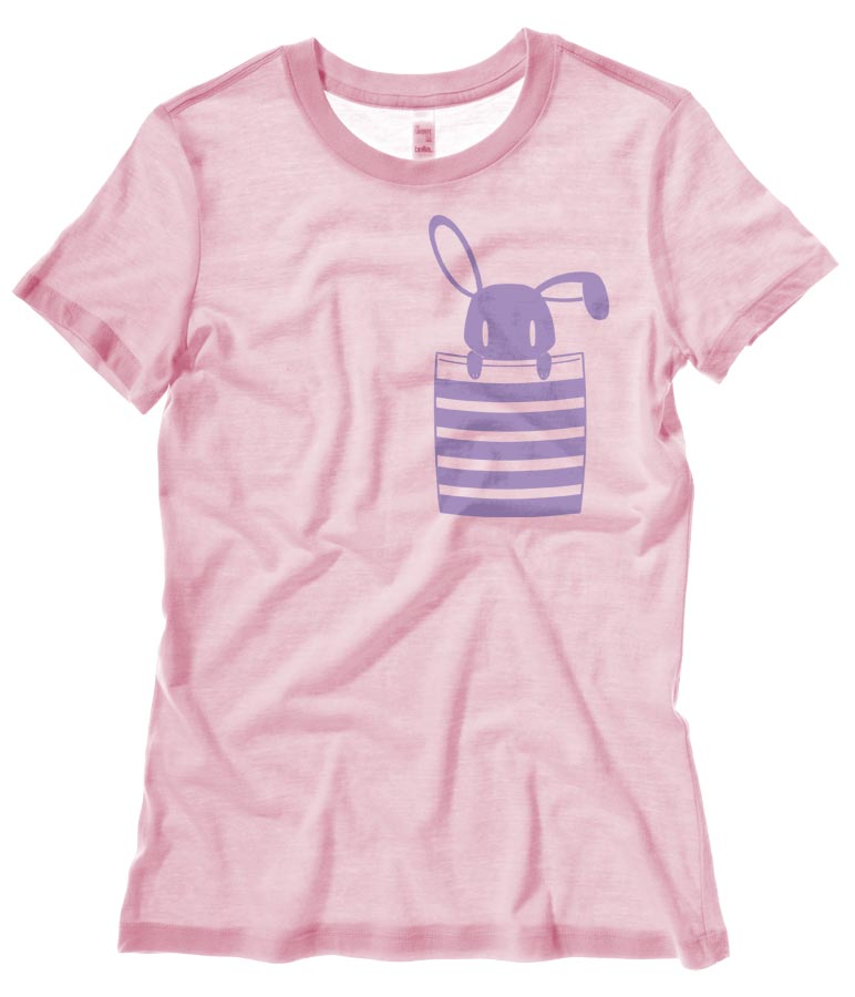 Bunny in My Pocket Ladies T-shirt - Light Pink