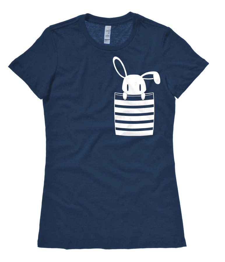 Bunny in My Pocket Ladies T-shirt - Heather Navy