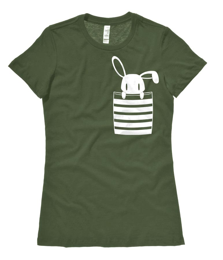 Bunny in My Pocket Ladies T-shirt - Olive Green