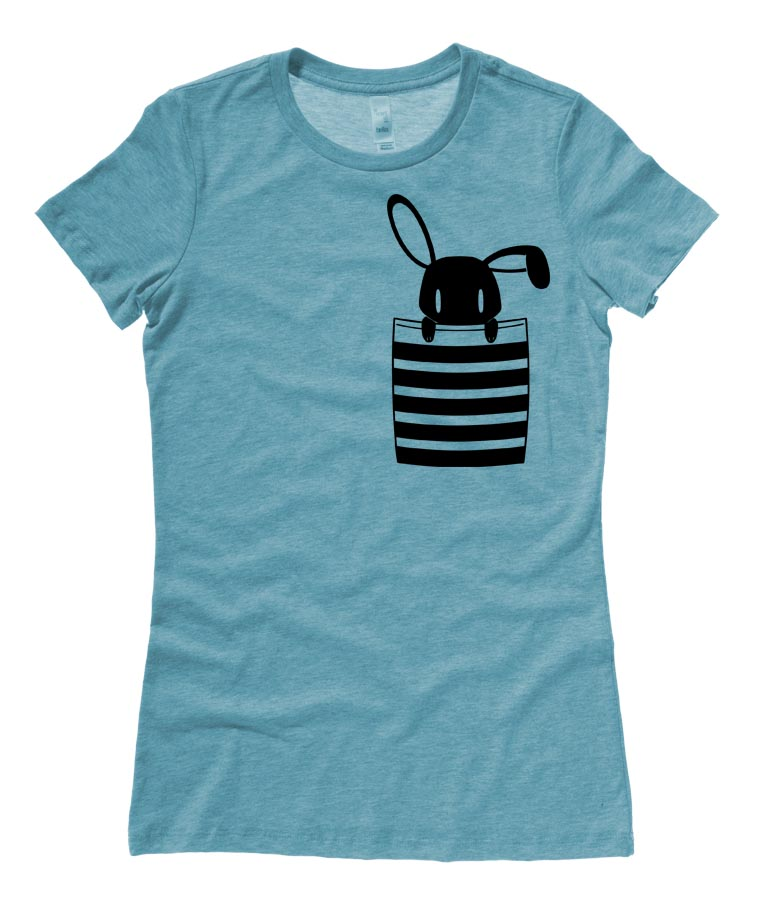 Bunny in My Pocket Ladies T-shirt - Teal
