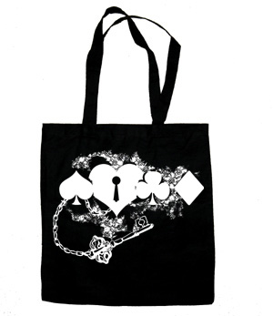 Key to my Heart Card Suit Tote Bag (silver/black) -