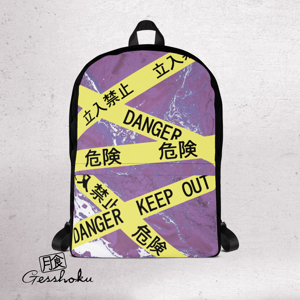 Caution Tape Aesthetic Classic Backpack - Purple