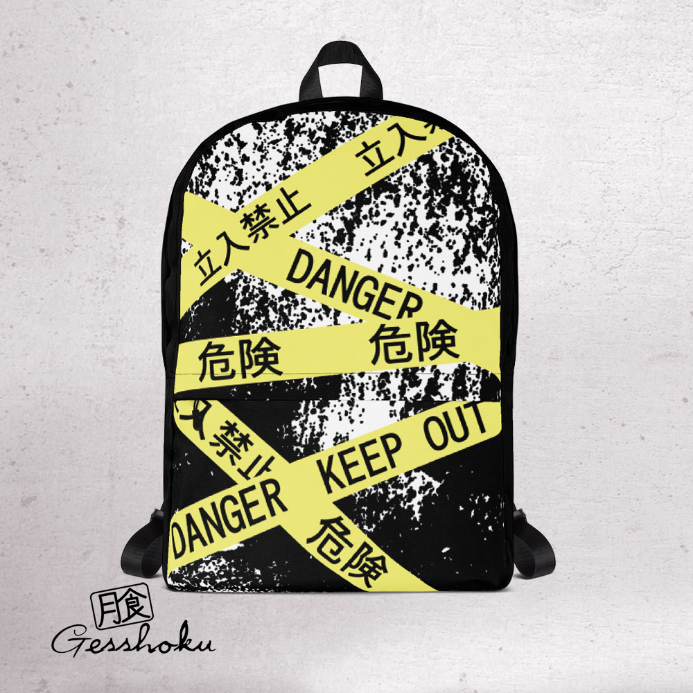 Caution Tape Aesthetic Classic Backpack - Black/White