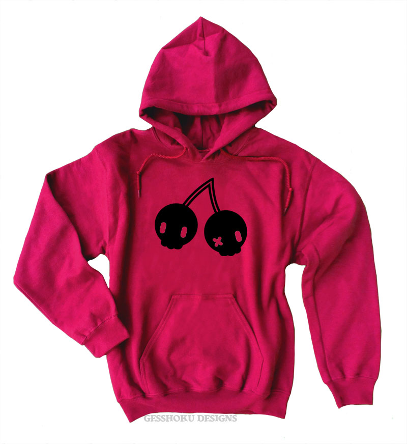 Cherry Skulls Pullover Hoodie - Red