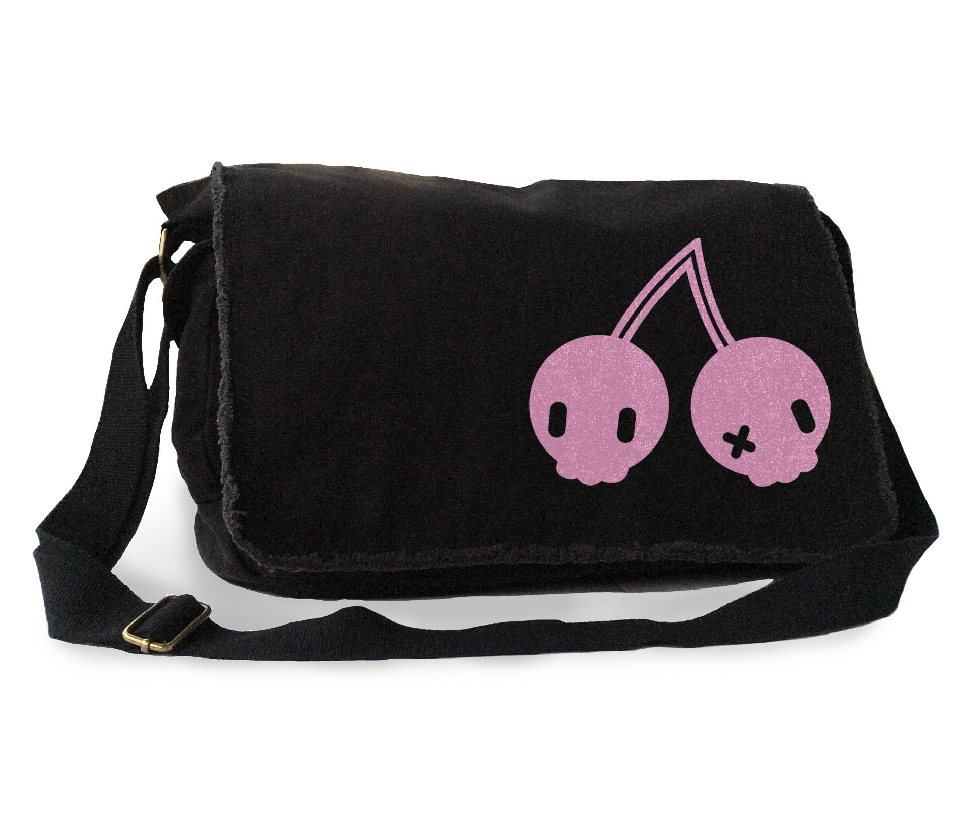 Cherry Skulls Messenger Bag - Pink/Black