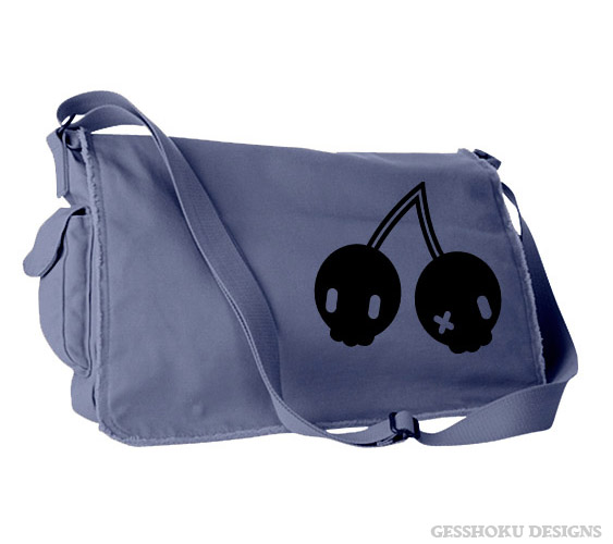 Cherry Skulls Messenger Bag - Denim Blue