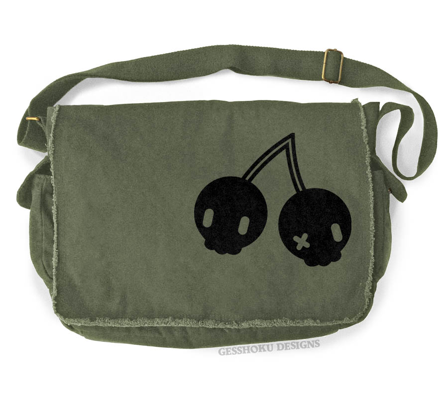 Cherry Skulls Messenger Bag - Khaki Green