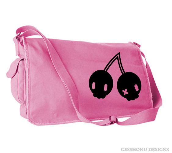 Cherry Skulls Messenger Bag - Light Pink