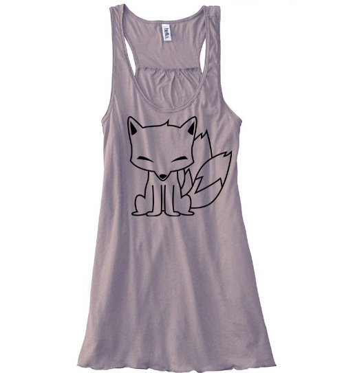 Chibi Kitsune Flowy Tank Top - Brown
