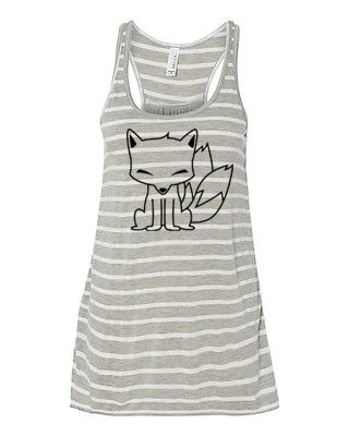 Chibi Kitsune Flowy Tank Top - Grey/White Stripe
