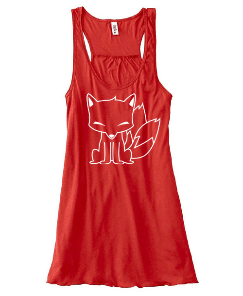 Chibi Kitsune Flowy Tank Top - Red
