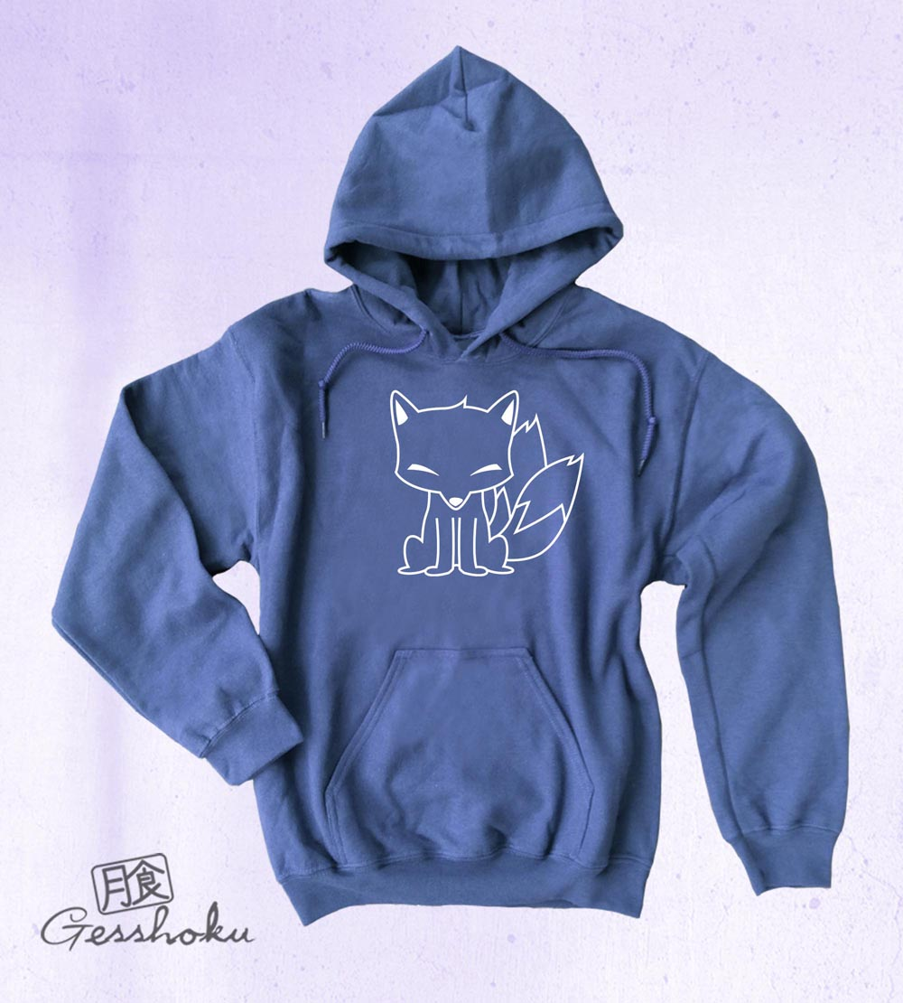 Chibi Kitsune Pullover Hoodie - Heather Blue