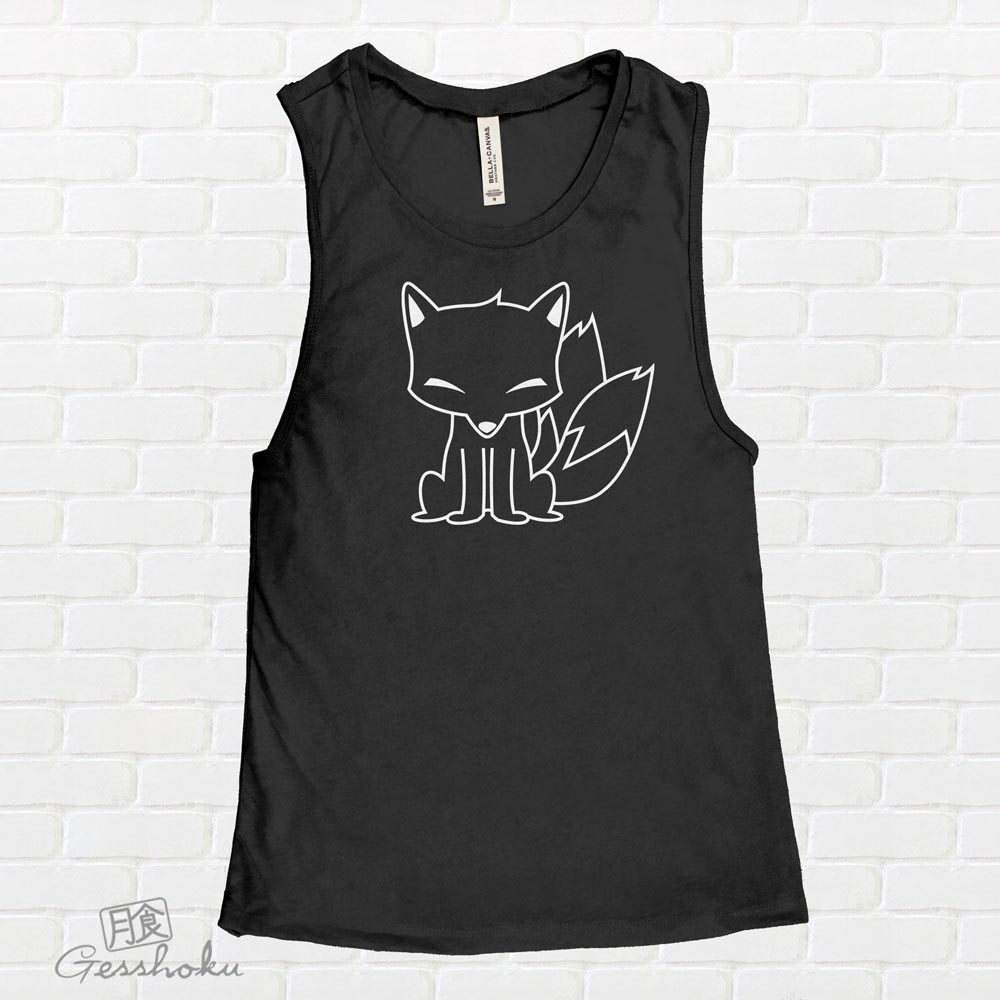 Chibi Kitsune Sleeveless Tank Top - Black