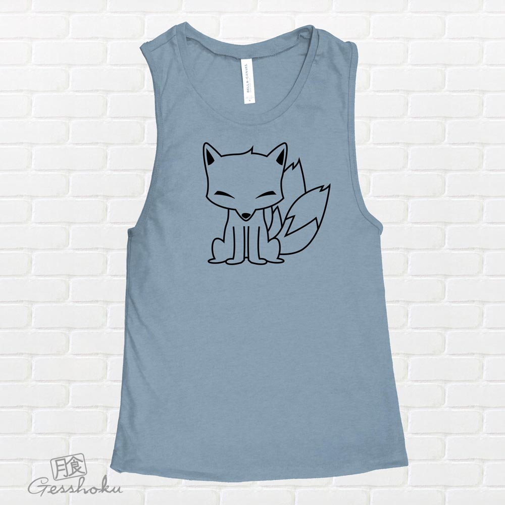 Chibi Kitsune Sleeveless Tank Top - Denim Blue