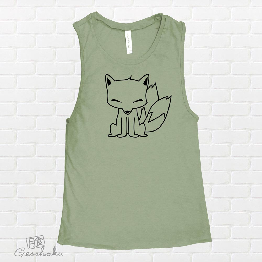 Chibi Kitsune Sleeveless Tank Top - Green