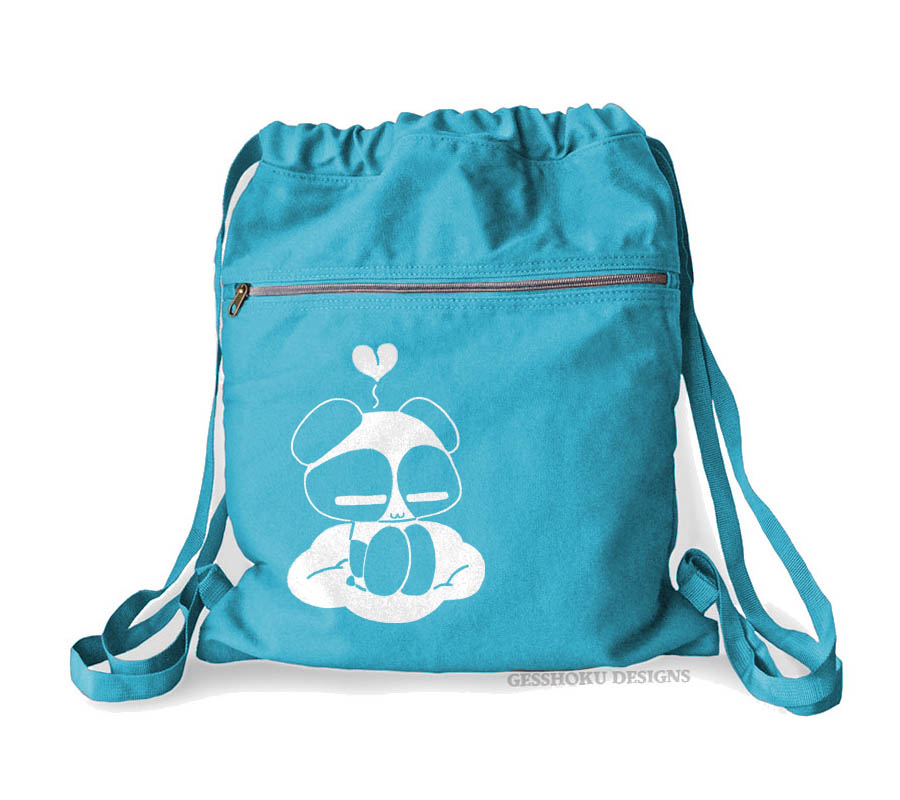 Chibi Goth Panda Cinch Backpack - Aqua Blue
