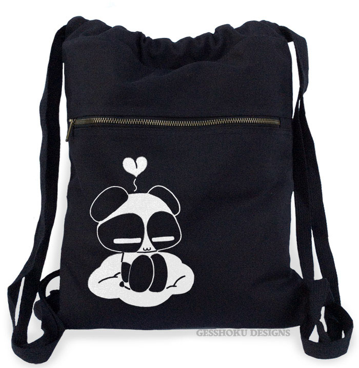 Chibi Goth Panda Cinch Backpack - Black