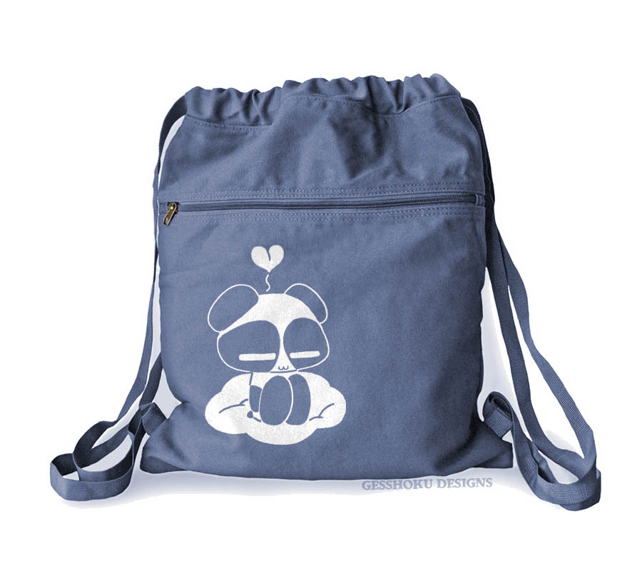 Chibi Goth Panda Cinch Backpack - Denim Blue