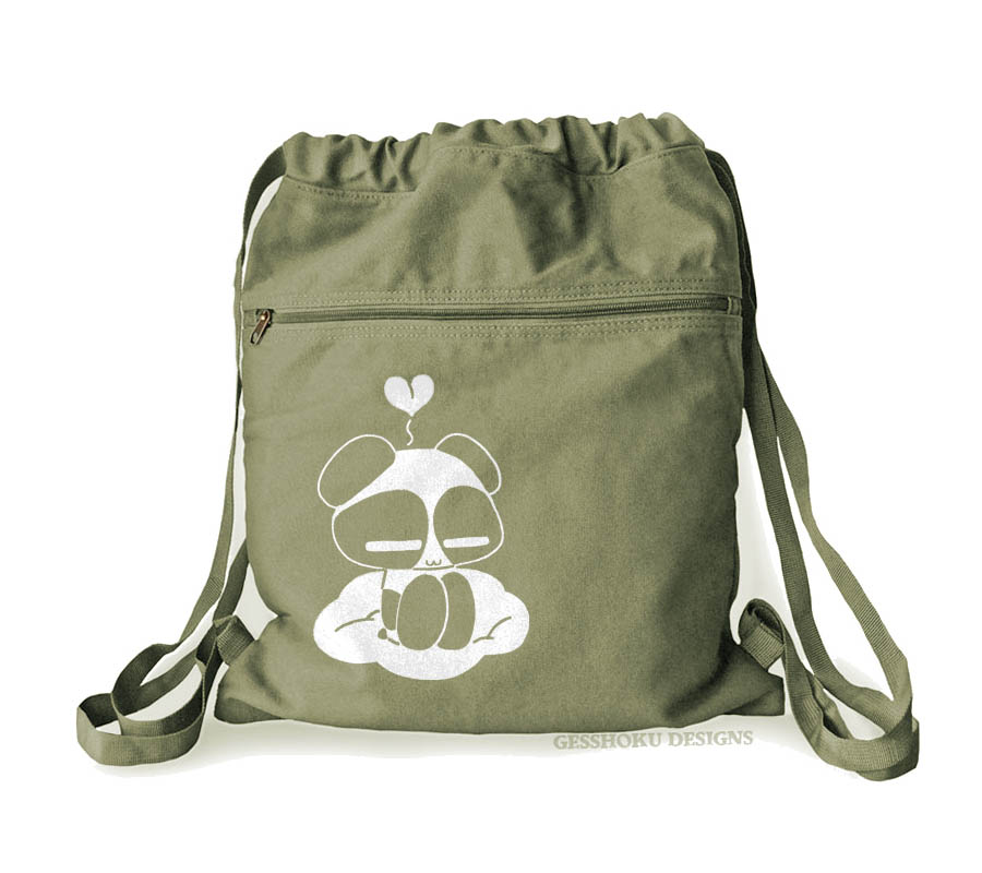 Chibi Goth Panda Cinch Backpack - Khaki Green