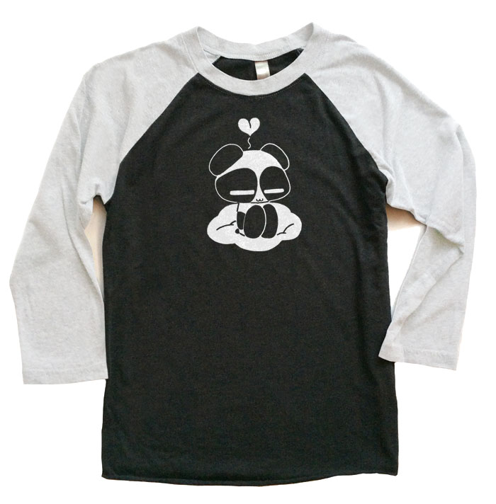 Chibi Panda Raglan T-shirt 3/4 Sleeve - White/Black