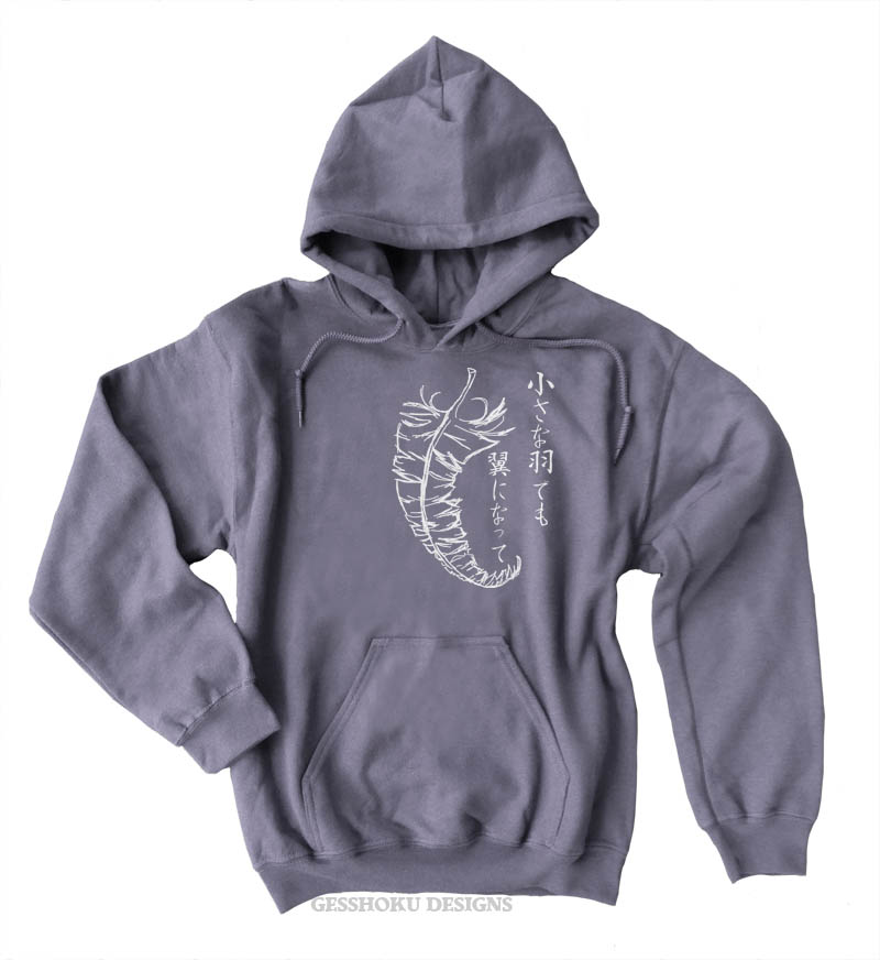 Chiisana Hane ~ Feathers Pullover Hoodie - Charcoal Grey