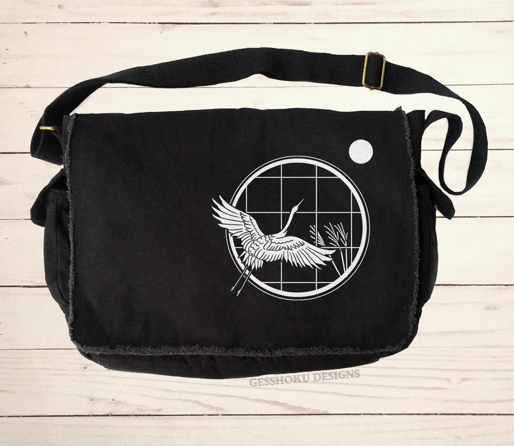 Crane and Moon Messenger Bag - Black
