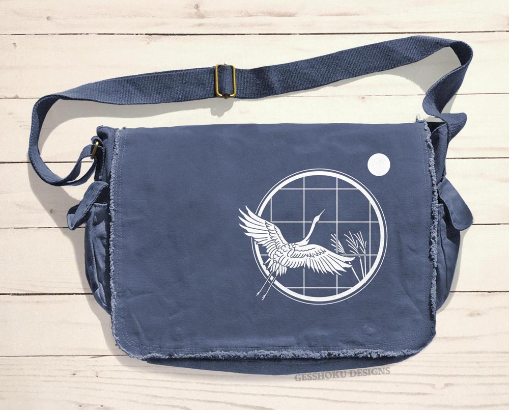 Crane and Moon Messenger Bag - Blue