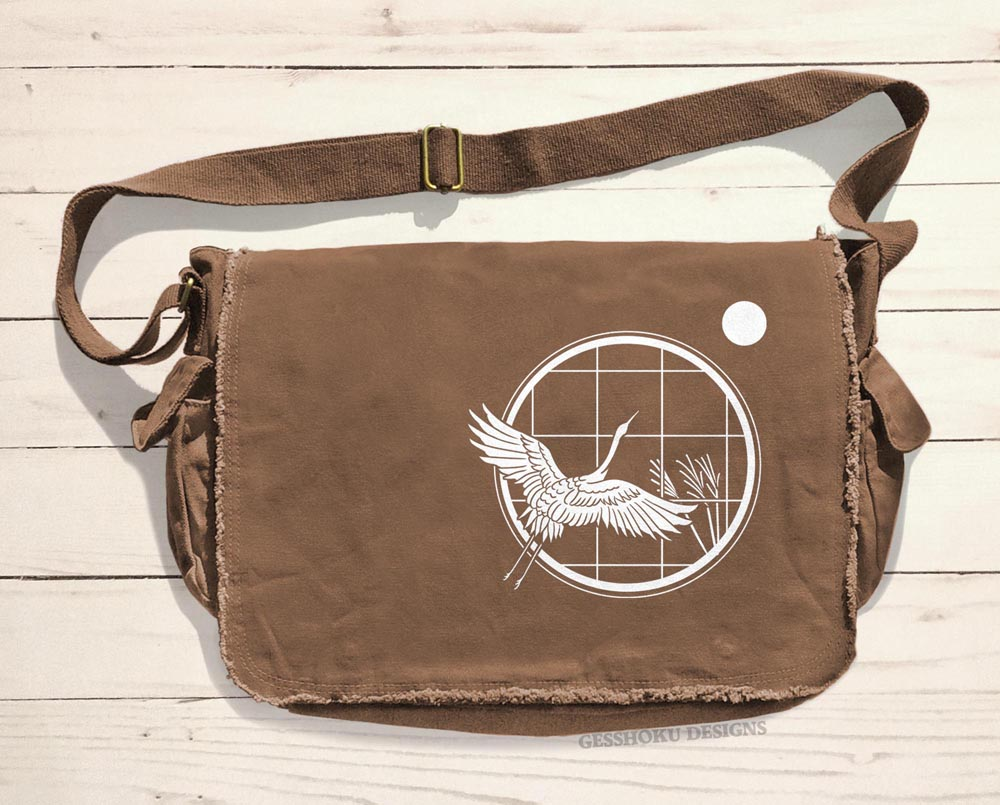 Crane and Moon Messenger Bag - Brown