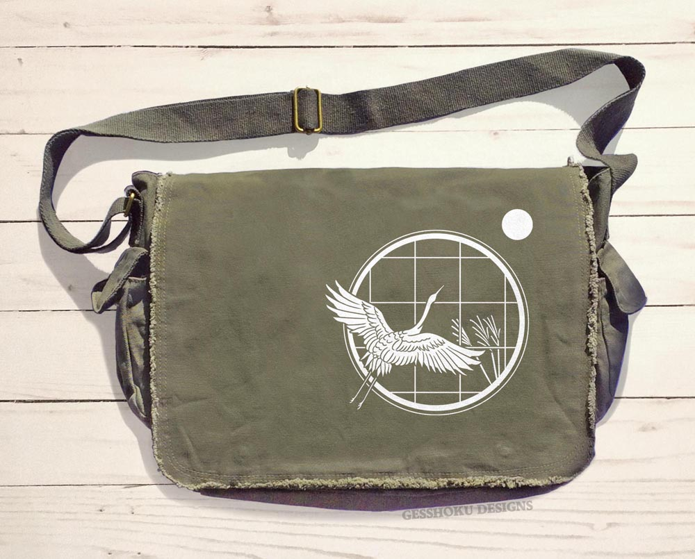 Crane and Moon Messenger Bag - Khaki Green