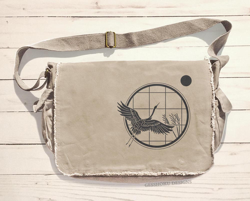 Crane and Moon Messenger Bag - Natural