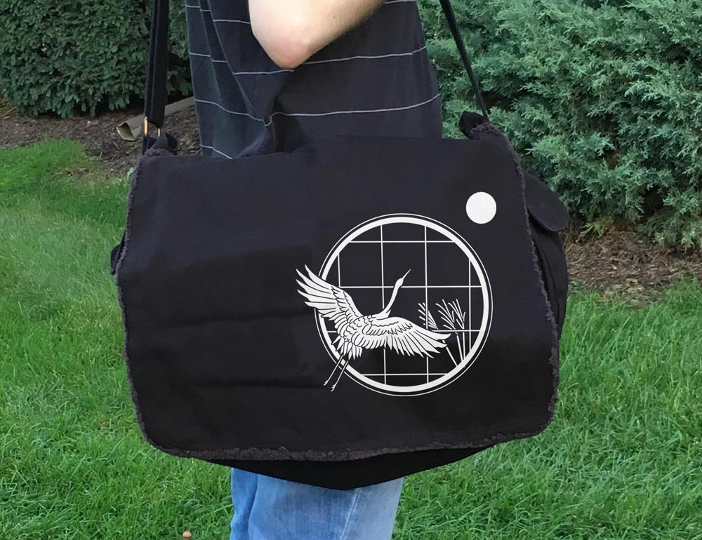 Crane and Moon Messenger Bag -