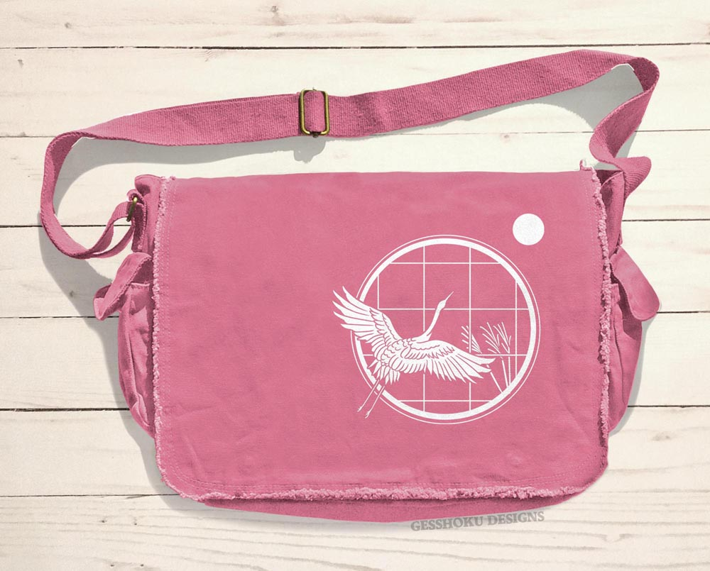 Crane and Moon Messenger Bag - Pink
