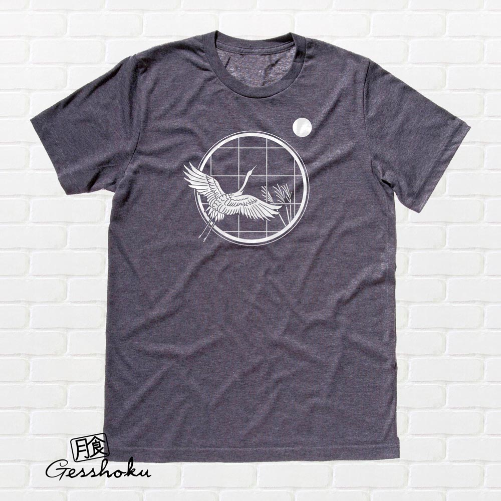 Crane and Moon T-shirt - Charcoal Grey