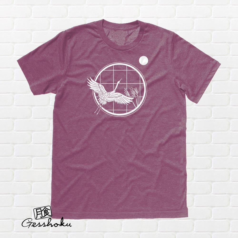 Crane and Moon T-shirt - Heather Maroon