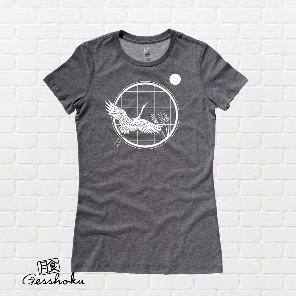Crane and Moon Ladies T-shirt - Charcoal Grey