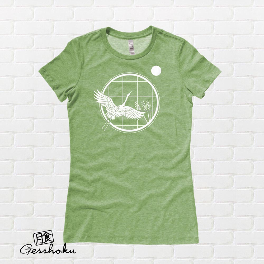 Crane and Moon Ladies T-shirt - Heather Green
