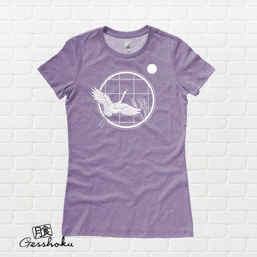 Crane and Moon Ladies T-shirt - Heather Purple