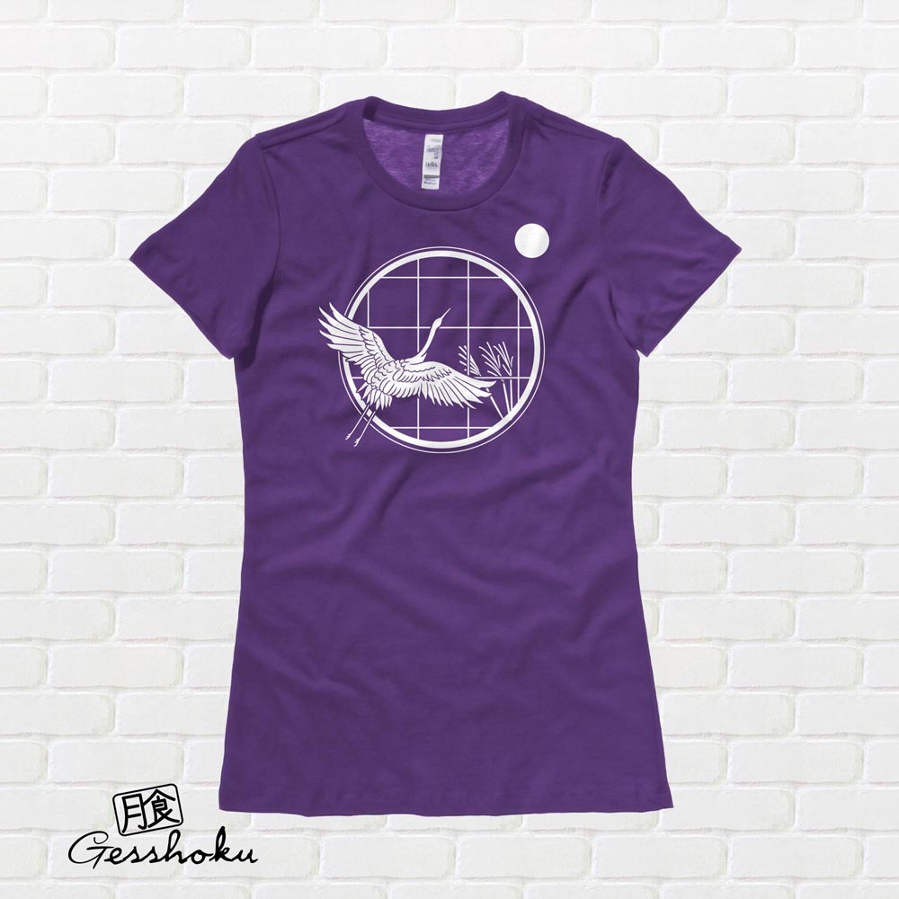Crane and Moon Ladies T-shirt - Purple