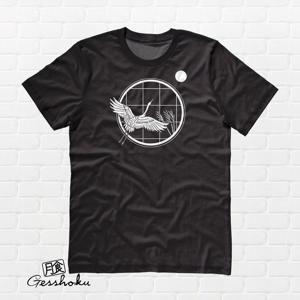 Crane and Moon T-shirt - Black