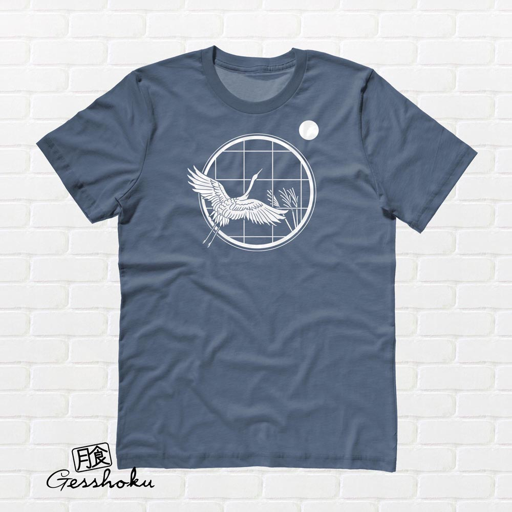 Crane and Moon T-shirt - Indigo Blue