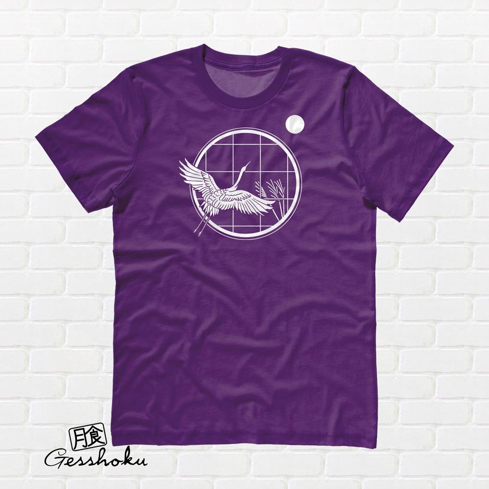 Crane and Moon T-shirt - Purple
