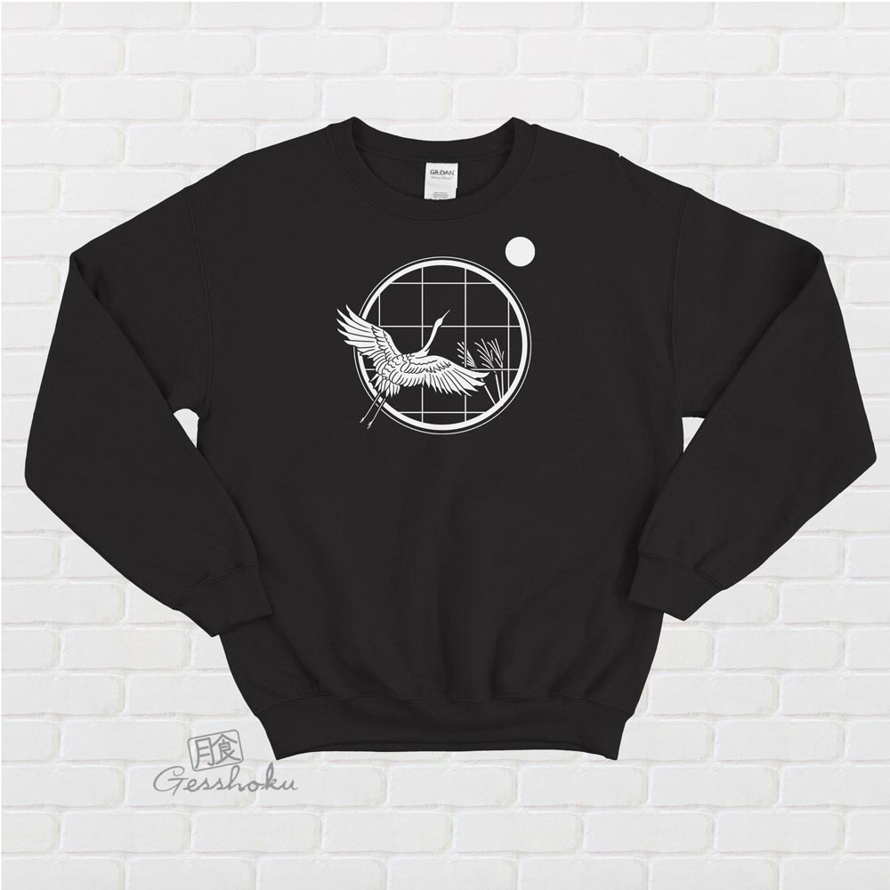 Crane and Moon Crewneck Sweatshirt - Black