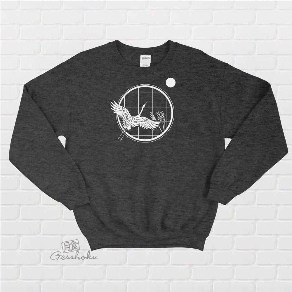 Crane and Moon Crewneck Sweatshirt - Heather Black