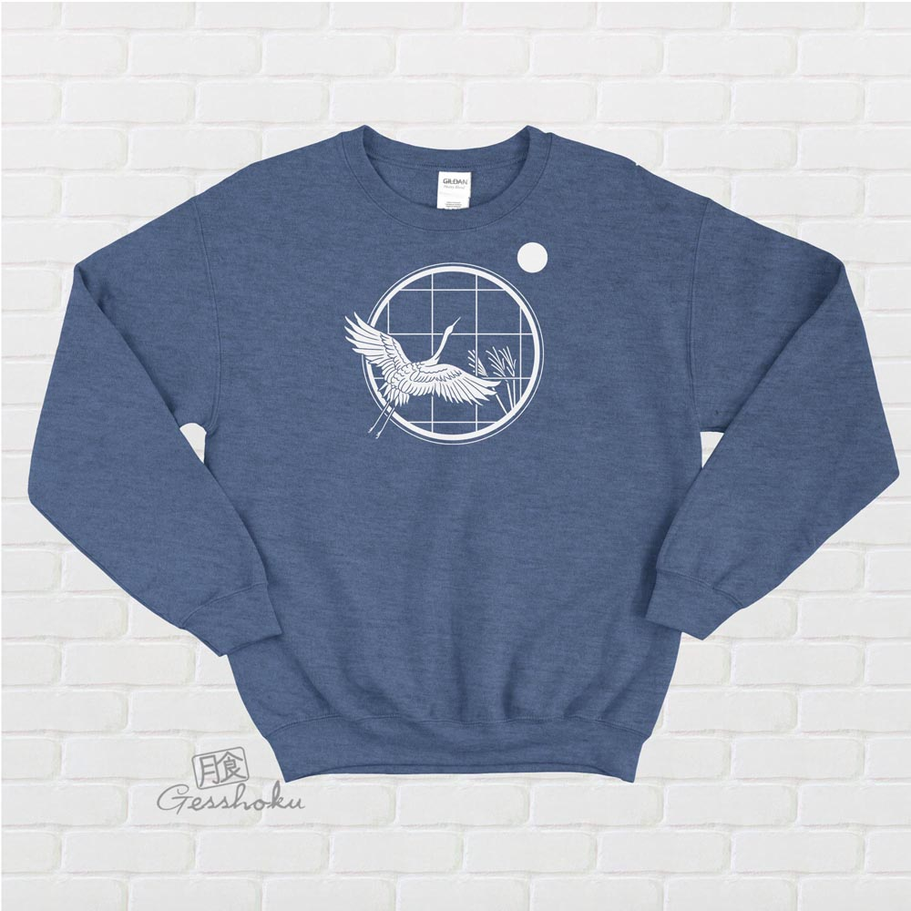 Crane and Moon Crewneck Sweatshirt - Indigo Blue